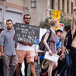 Photo by Dan Alcalde. Demonstrators march through New York City on September 21,