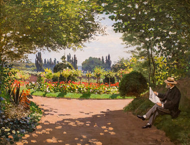 Monet Reading in a Garden