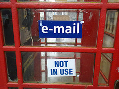 phone box and email sign