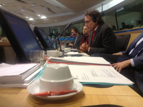 (L-R) Artur Polis, Josué Dusoulierand Naresh Giangrande giving evidence at the TEN meeting.