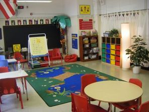 brightly coloured infant classroom