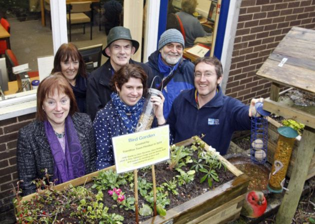 Transition Honiton with Steven Henry of the RSPB unveiling their new bird garden.