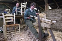 Craft worker using a shave horse