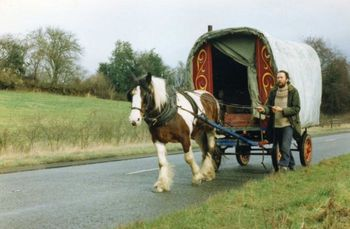Horsedrawn wagon going down the road