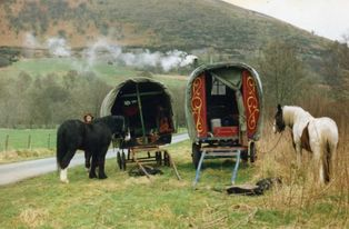 Two horsedrawn wagons on verge with horses
