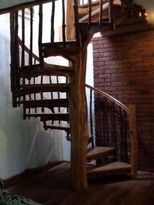 staircase made of a tree trunk