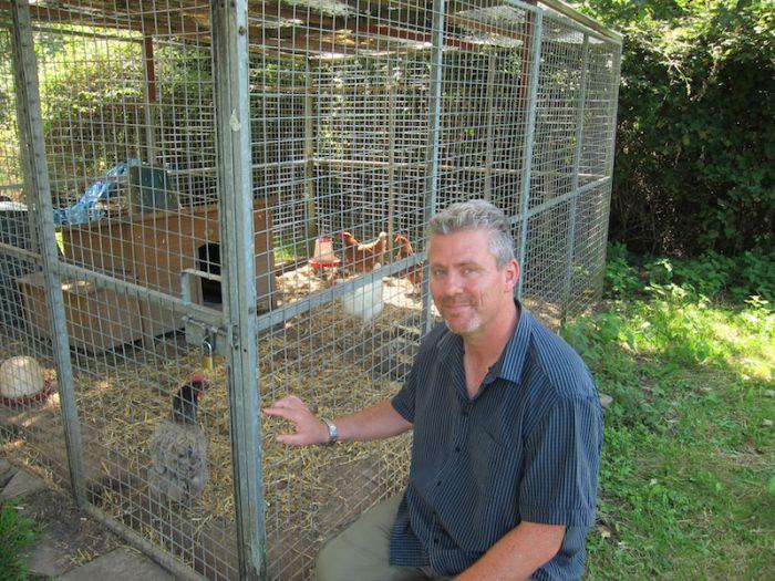 Richard Tucker, Deputy Head, with the school hens
