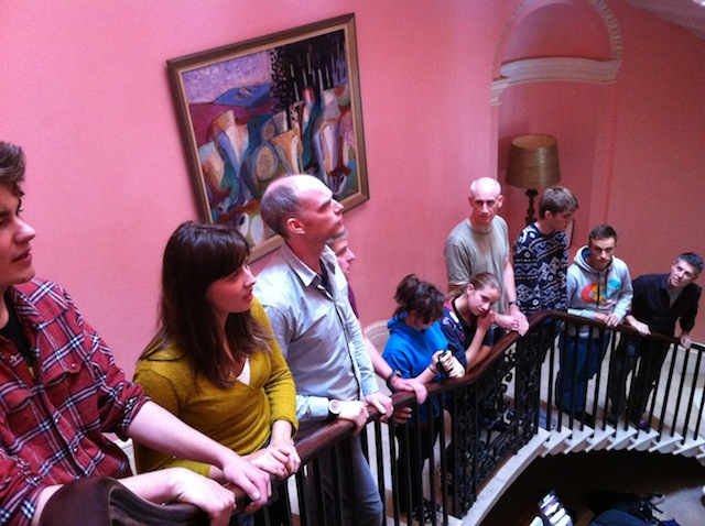 Singing on the staircase
