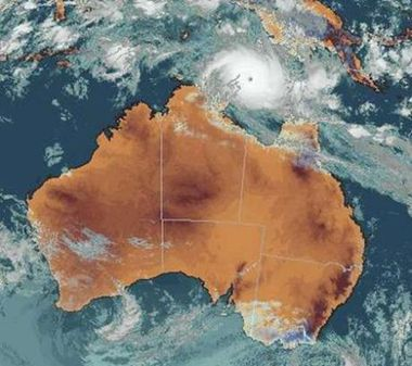 satelite map of Australia showing the cyclone