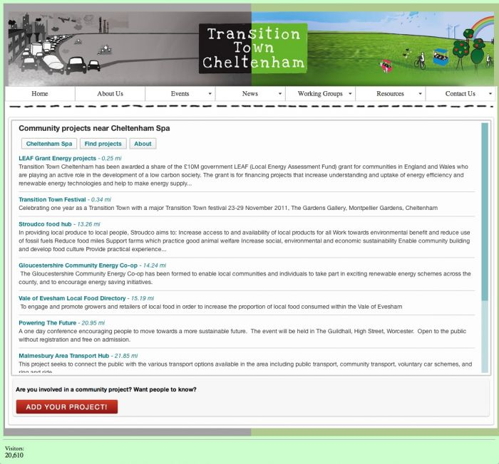screengrab of project sharing engine widget