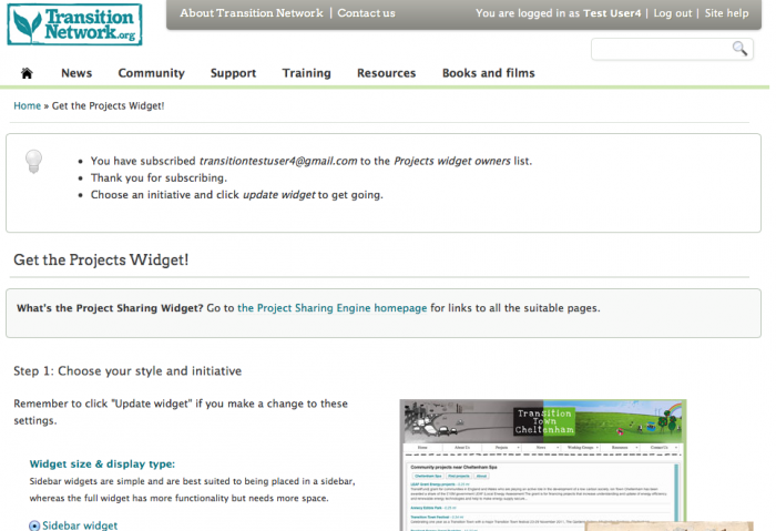 Setting up a projects widget for your initiative website