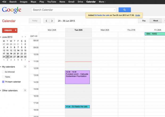 screengrab of google calendar