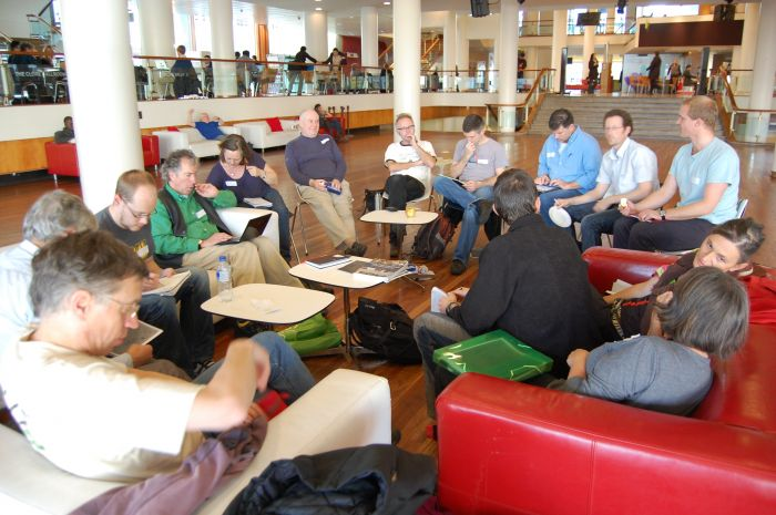 Webmasters group deep in thought at first webmaster meeting