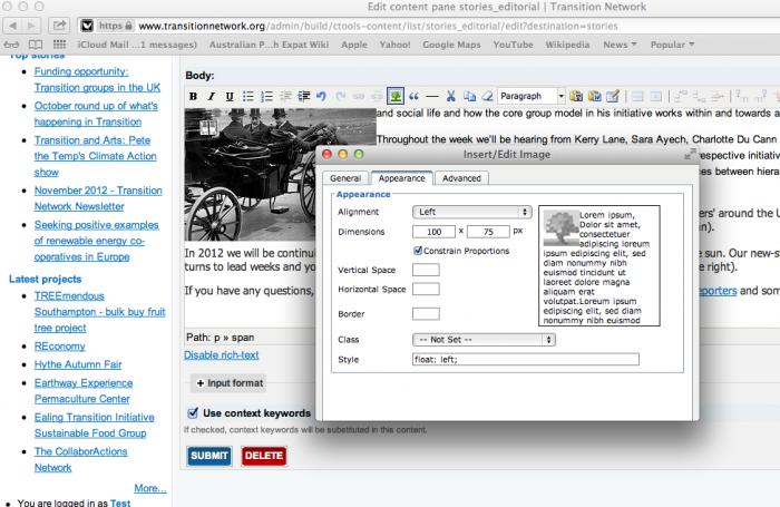 screengrab of editing screen