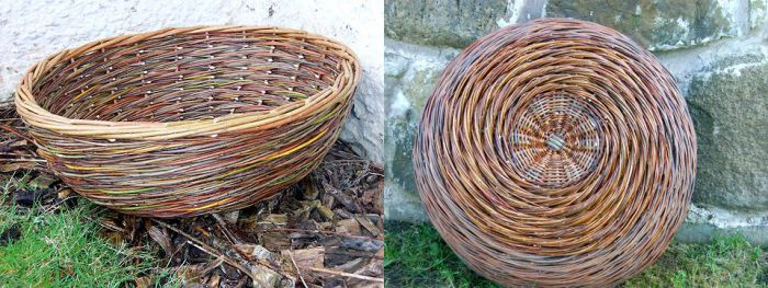 A basket woven using a natural palette of willow colours.