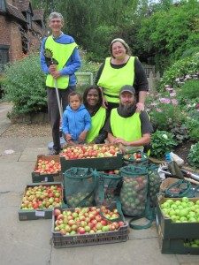 Harvest Share volunteers with some of the harvest at Anne Hathaway's Cottage, 17 August 2013