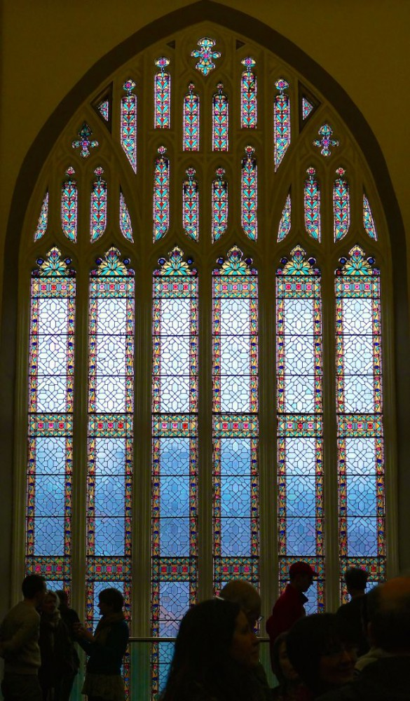 The closing circle in front of the stained glass.