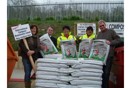 Representatives of Transition Marlborough celebrate International Compost Awareness week with staff at the local recycling centre.