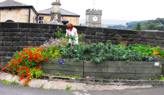 Food growing on Todmorden train station.
