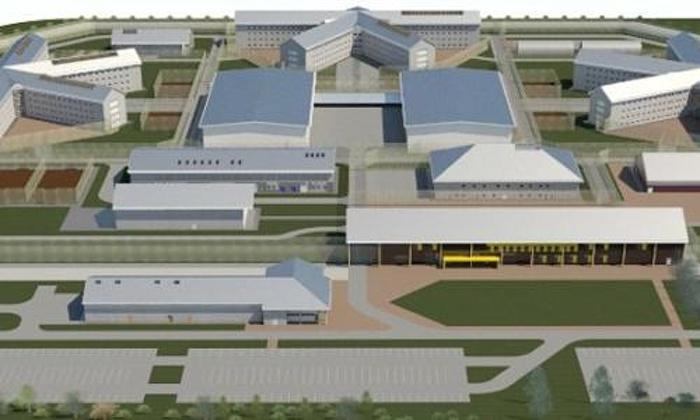 Artists impression of new super-size 'Titan' jail being built near Wrexham.