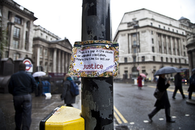 'Banking on Injustice': created for an exhibition in Ink-d Gallery, Brighton 2010.  Photo by Robin Prime.