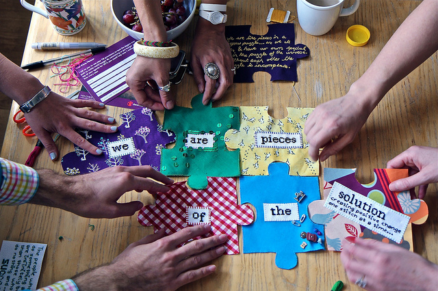 The Craftivist Jigsaw Project: craftivists fitting some jigsaw pieces together to sayWe are piece of the solution (creating positive change one stitch at a time...)