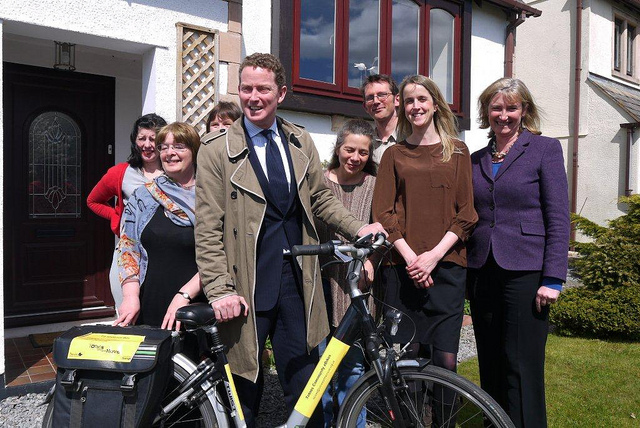 Energy minister Greg Barker and Dr Sarah Wollaston MP visit a Transition Strrets group in Totnes.