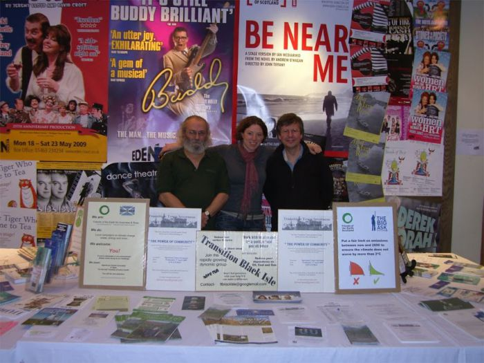 A very early Transition stand at a showing of Age of Stupid in Inverness – March 2009.