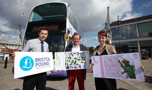 The Mayor of Bristol celebrating the fact Bristol Pounds can now be spent on the city's buses.