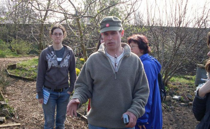 In permaculture mode: Duncan leads a tour of Brockwell forest garden.