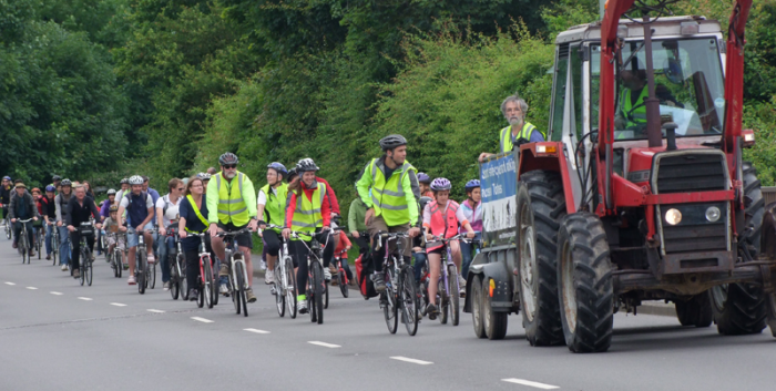 Group bike ride along the least desirable route, joined by local MP Dr. Sarah Wollaston.