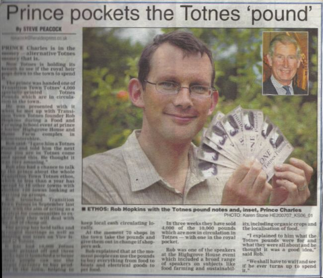 Prince Charles meets the Totnes Pound, July 2007.