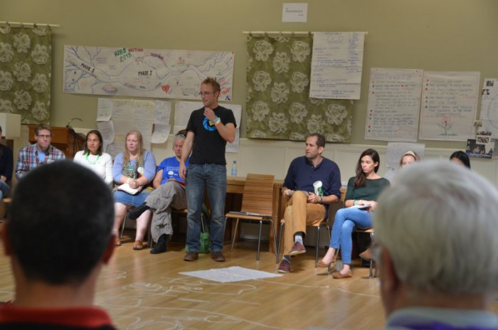 Yoav (centre, seated) with Noel Longhurst (standing, animated) at the 'How Change Happens' workshop they co-presented at the 2015 Transition conference.
