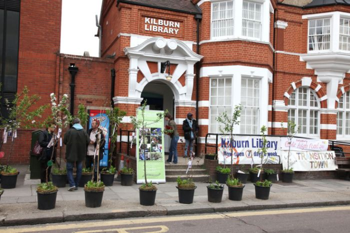 Edible trees outside Kilburn Library. Photo: Jonathan Goldberg