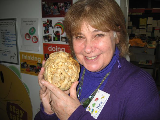 Julie Tweet of Rainbow Nursery, Totnes.  And a celeriac.