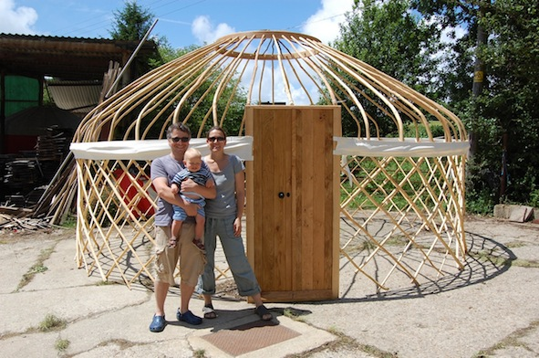 With Finn, taking delivery of our first guest yurt.
