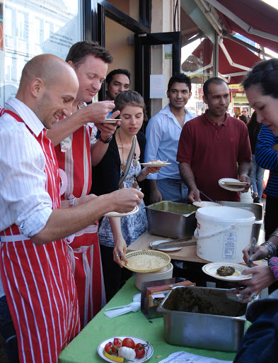 Food tasting in the streets at the Tooting Foodival