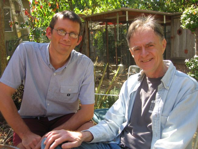 Richard Heinberg and Rob Hopkins in Richard's garden, Santa Rosa.