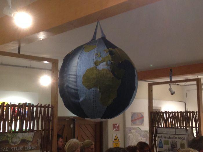 The recycled denim globe.