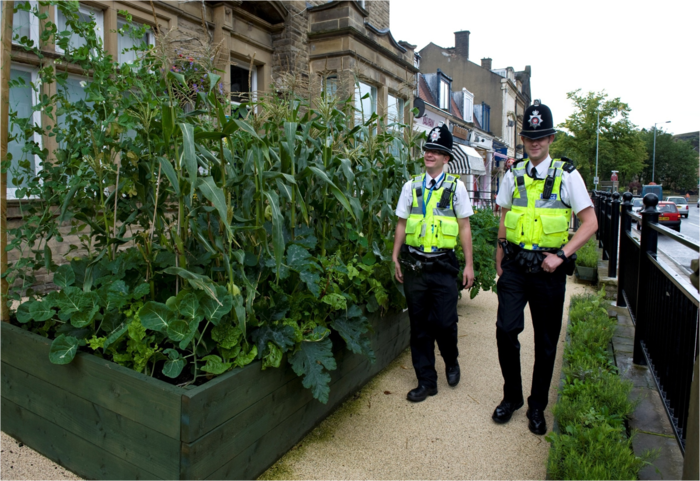 Food growing outside the police station in Todmorden. Photo: Locality.