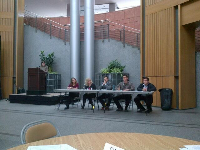 A panel of speakers at the launch of Transition Kitchiner/Waterloo Climate Adaptation Toolkit.