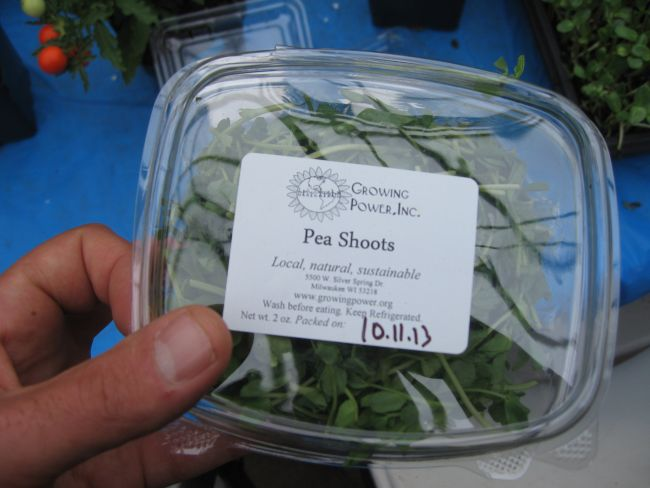 'Growing Power'-branded pea shoots ready for sale.