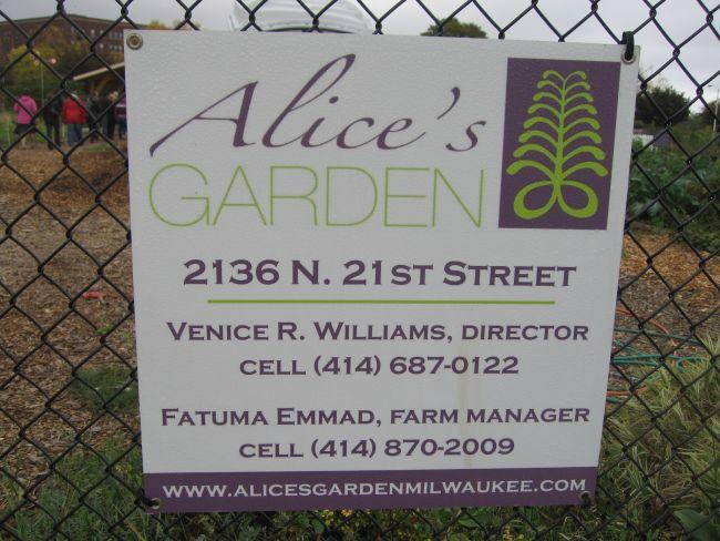 Alice's Garden sign.
