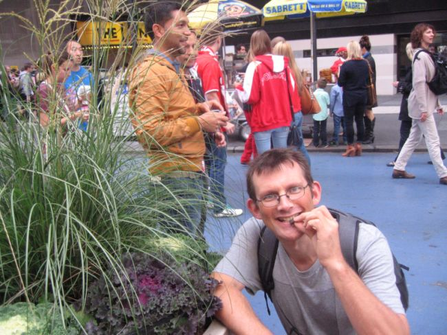Snacking on kale in Times square