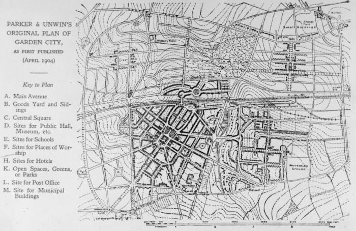 Original plan of Letchworth Garden City, 1904.
