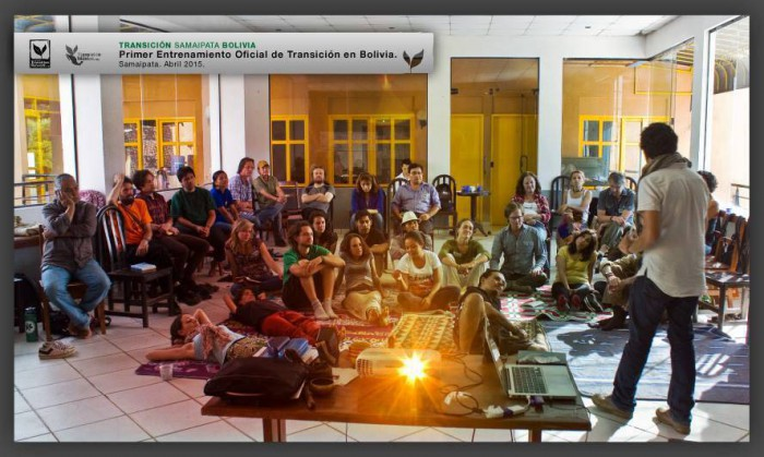 Raul Velez, Transition Network educator for Latin America, has given trainings all over the continent, like this one in Bolivia. Photo: Raul Velez
