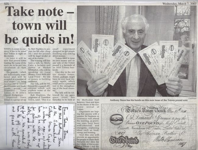 Former Totnes MP Anthony Steen with the first release of Totnes Pounds.