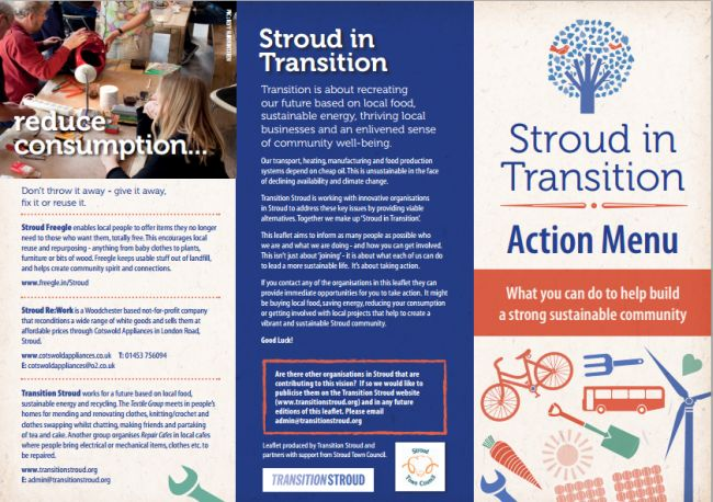 Transition Stroud's new 'Stroud in Transition' Action Menu promotes lots of related local organisations.