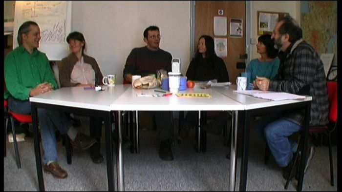 A still from the forthcoming 'TTT Reunion' video (l-r: Naresh, Sophy, Rob, Teresa, Fiona).