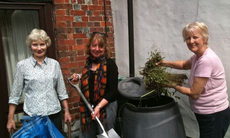 Members of the Fishpool Street group learning how to make compost. Photograph: Gail Jackson